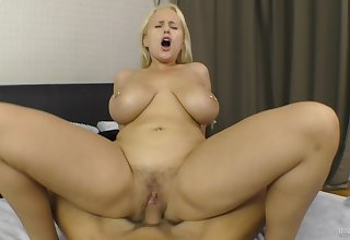 Busty light-complexioned amateur rides dick in flawless modes