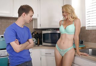 Half in the buff stepmom Kit Mercer allows far touch her boobies and gives the best ever blowjob