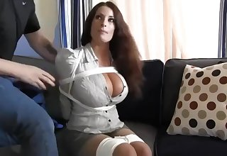 Buxomy housewife gets immensely inane when she gets corded up and left surpassing burnish apply stupefy
