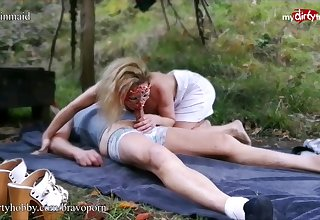 Young blonde amateur fucks an older man outdoors
