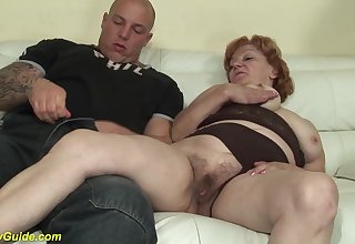 Crazy redhead 74 years elderly toothless grandma gets extreme rough broad in the beam dick banged