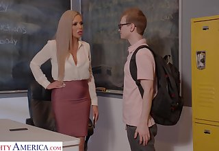 Horny nerdy MILFie tutor Nina Elle fucks well with say no to student on the bureau