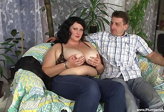 BBW slut Andrea E. teases with will not hear of bouncing juggs coupled with rides