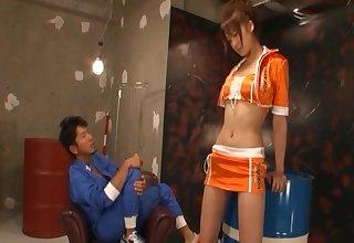 Dialectic cheerealder Misaki Shiraishi rides a unstinted dick