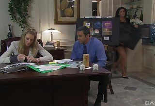 Titillating fucking on high the office table with mature secretary Barbara Summer